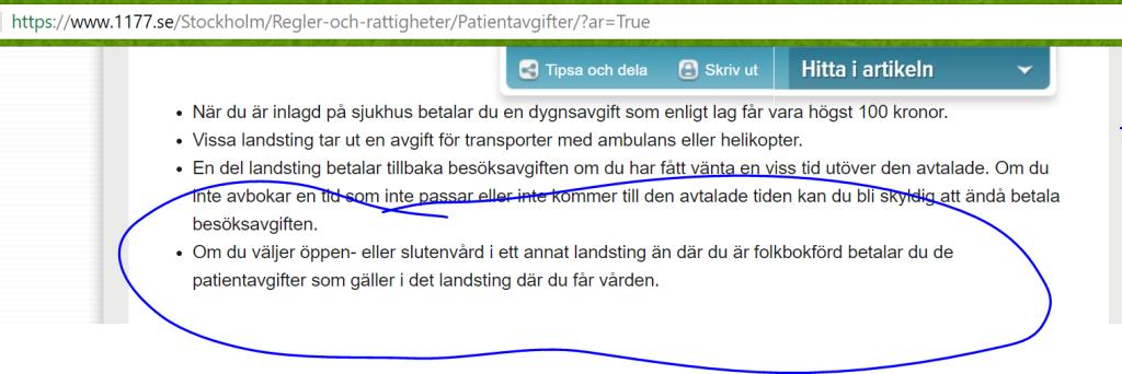 Information om patientavgifter från 1177 vårdguiden.